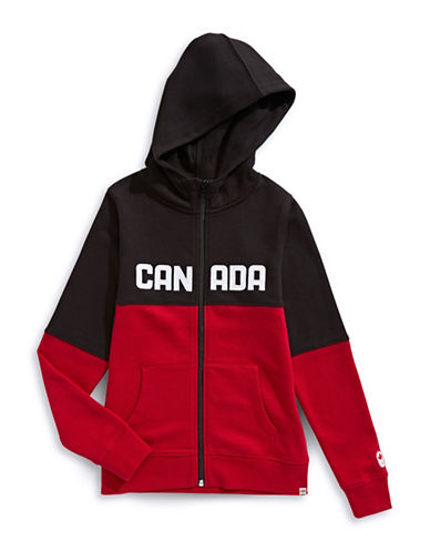 Canadian Olympic Team Collection Girls Colourblocked Fleece Hoodie-RED-3-4