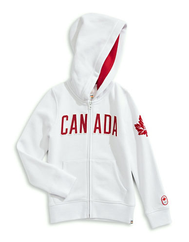 Canadian Olympic Team Collection Toddler Girls Core Fleece Hoodie-WHITE-5-6