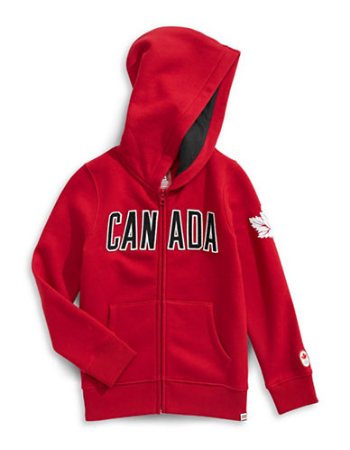 Canadian Olympic Team Collection Toddler Girls Core Fleece Hoodie-RED-3-4
