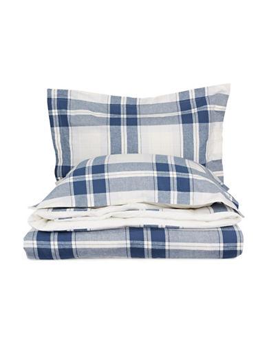Glucksteinhome Emmett Flannel Three-Piece Duvet Cover Set-BLUE-King