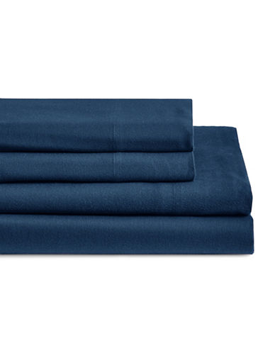 Glucksteinhome Four-Piece Flannel Sheet Set-BLUE FOG-King
