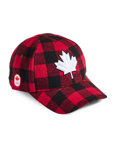 Canadian Olympic Team Collection Adult Buffalo Check Fleece Lined Cap-RED-One Size