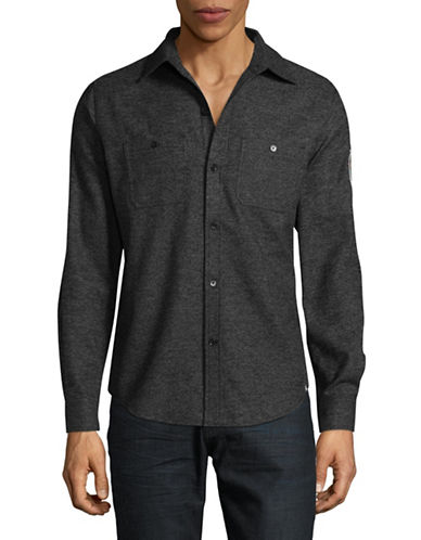 Canadian Olympic Team Collection Mens Flannel Shirt-BLACK-Medium