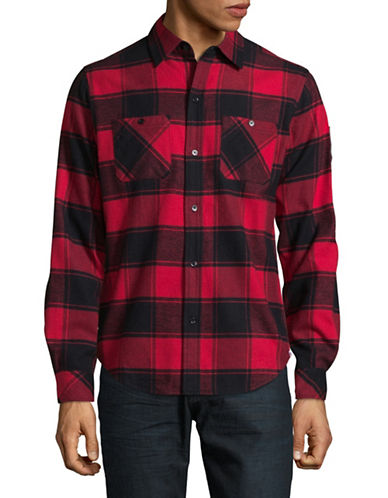 Canadian Olympic Team Collection Mens Buffalo Flannel Shirt-RED-Small