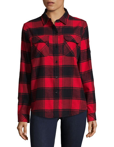 Canadian Olympic Team Collection Womens Buffalo Check Flannel Shirt-RED-Medium