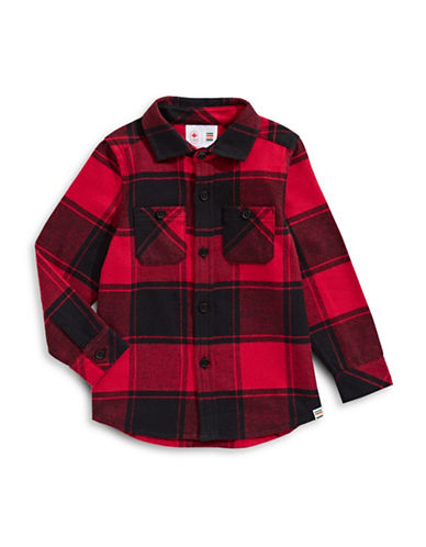Canadian Olympic Team Collection Infant Buffalo Check Flannel Shirt-RED-6-12 Months