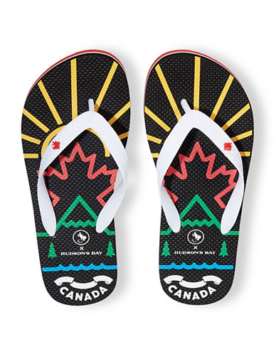 Canadian Paralympic Team Collection Mens Flip Flops-BLACK-Large