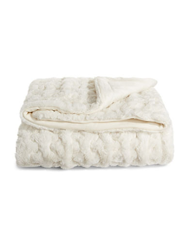 Distinctly Home Quilted Mink Faux Fur Throw-WHITE-One Size
