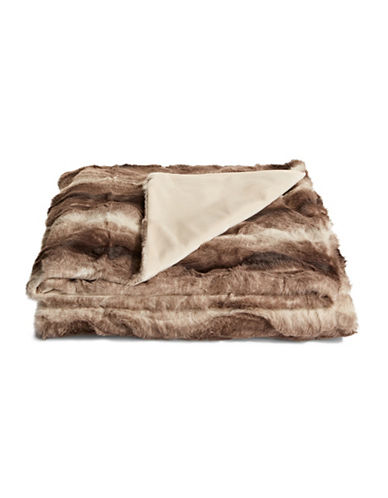 Distinctly Home Striped Fox Faux Fur Throw-BROWN-One Size