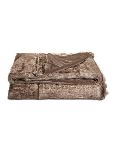 Distinctly Home Mink Faux Fur Throw-BROWN-One Size