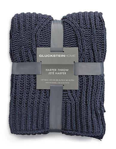 Glucksteinhome Harper Chenille Throw-CHARCOAL-One Size