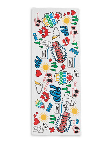 Canadian Paralympic Team Collection Linen Blend Multi-Graphic Scarf-WHITE-One Size