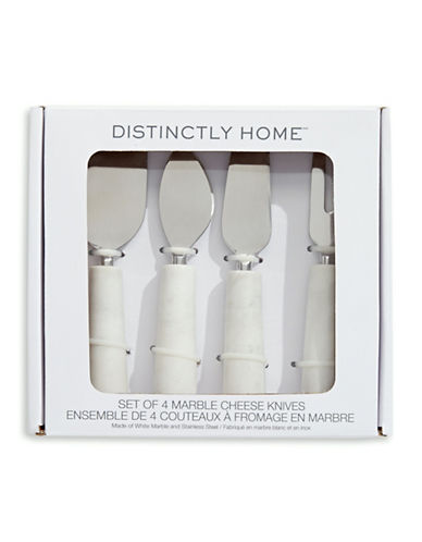 Distinctly Home Set of 4 Marble Cheese Knives-WHITE-One Size
