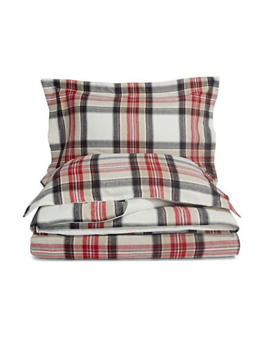 Distinctly Home Three-Piece Plaid Duvet Cover Set-WHITE/RED-Twin