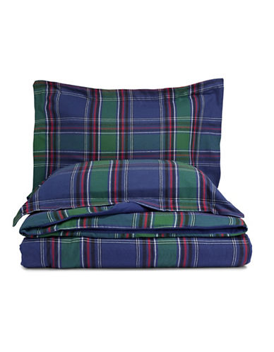 Distinctly Home Blackwatch Three-Piece Flannel Duvet Cover Set-NAVY/RED-Twin