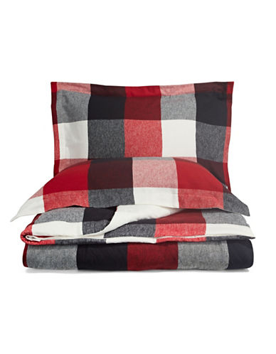 Distinctly Home Three-Piece Buffalo Check Flannel Duvet Cover Set-RED/BLACK-Twin