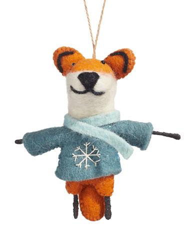Christmas Street Winter Chalet Felt Fox Ornament-MULTI-One Size