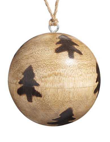 Christmas Street Winter Chalet Wood Ball Ornament-NATURAL-One Size