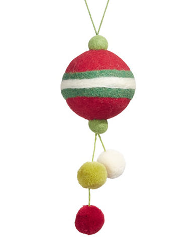 Christmas Street Winter Chalet Pom-Pom Ball Ornament-MULTI-One Size