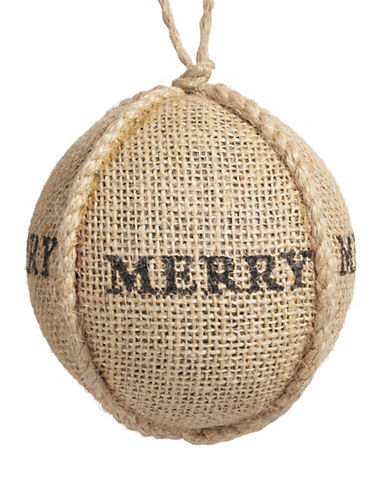 Christmas Street Winter Chalet Jute Merry Ball Ornament-NATURAL-One Size