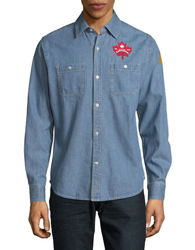 Canadian Paralympic Team Collection Mens Denim Shirt-BLUE-X-Large