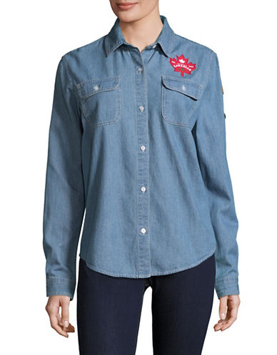 Canadian Paralympic Team Collection Womens Denim Shirt-BLUE-Large