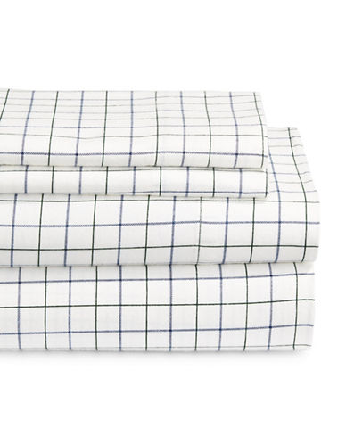 Home Studio Four-Piece Windowpane Flannel Sheet Set-WHITE/BLUE-Double