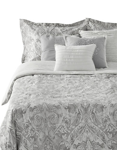 Home Studio Seven-Piece Kensie Paisley Comforter Set-GREY-Queen