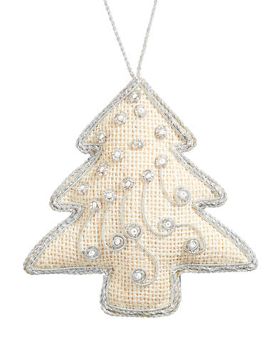 Glucksteinhome Noel Blanc Fabric Embroidered Tree Ornament-WHITE-One Size