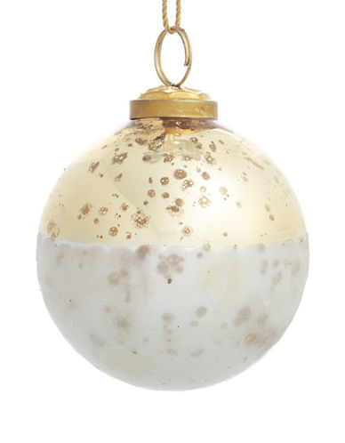 Glucksteinhome Aspen Charm Frosted Glass Ornament-GOLD-One Size