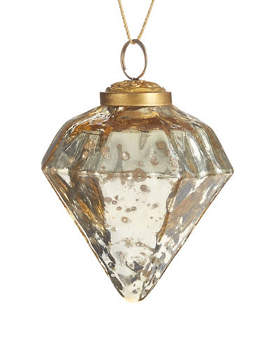 Glucksteinhome Noel Blanc Glass Diamond Ornament-CHAMPAGNE-One Size