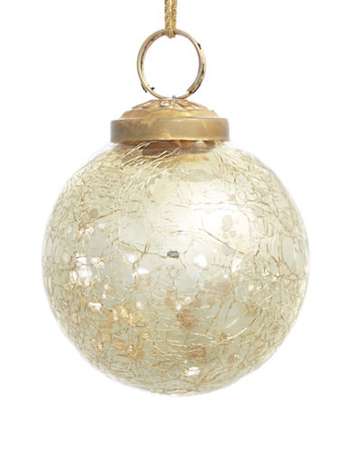 Glucksteinhome Aspen Charm Crackle Glass Ornament-CHAMPAGNE-One Size