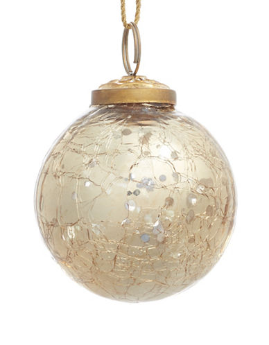 Glucksteinhome Aspen Charm Round Crackle Glass Ornament-GOLD-One Size