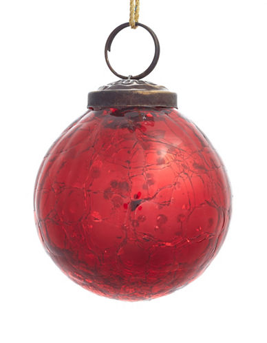 Glucksteinhome Aspen Charm Crackle Glass Ornament-RED-One Size