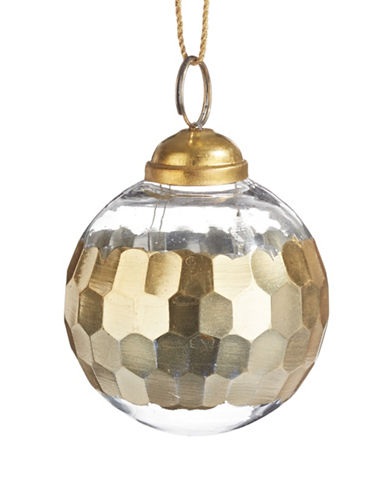 Glucksteinhome Noel Blanc Metallic Faceted Ornament-CHAMPAGNE-One Size