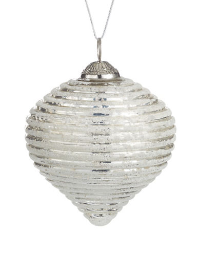 Glucksteinhome Noel Blanc Ribbed Glass Ornament-SILVER-One Size