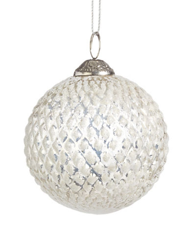 Glucksteinhome Noel Blanc Diamond Glass Ornament-SILVER-One Size