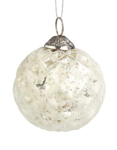 Glucksteinhome Noel Blanc Hammered Glass Ornament-WHITE-One Size