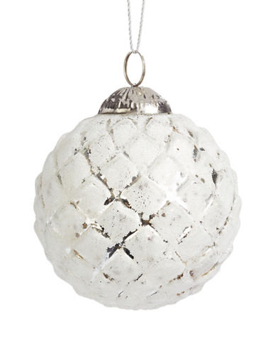 Glucksteinhome Noel Blanc Diamond Glass Ornament-WHITE-One Size