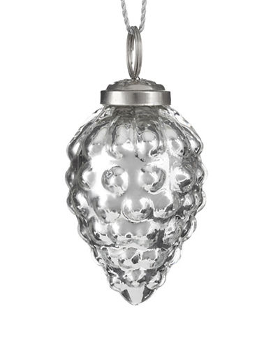 Glucksteinhome Noel Blanc Glass Strawberry Ornament-SILVER-One Size