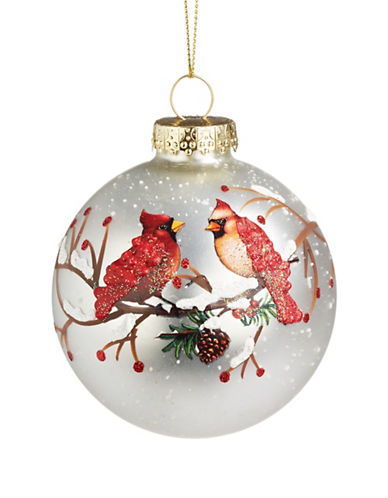 Glucksteinhome Aspen Charm Glass Ball Cardinals Ornament-MULTI-One Size