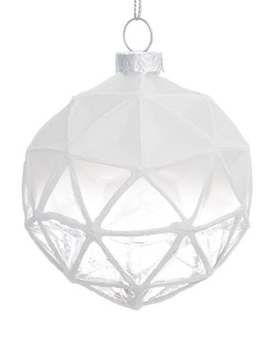 Glucksteinhome Noel Blanc Geometric Ombre Glass Ornament-WHITE-One Size