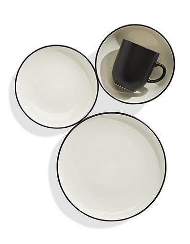 Distinctly Home Orla 16-Piece Stoneware Dinnerware Set-BLACK-One Size