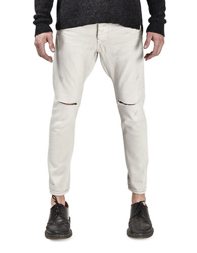 Man X One Teaspoon Cotton Distressed Jeans-WHITE-34