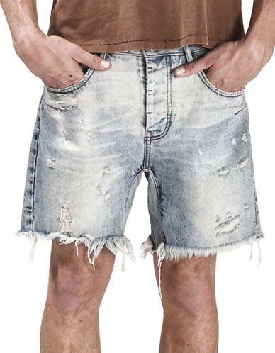 Man X One Teaspoon Salty Dog Distressed Denim Shorts-BLUE-31
