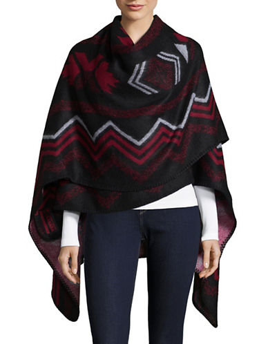 Canadian Olympic Team Collection Womens Fair Isle Poncho-BLACK-One Size