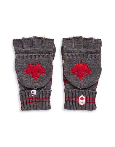 Canadian Olympic Team Collection Adult Country Sweater-Knit Flip Top Mittens-CHARCOAL-Small/Medium