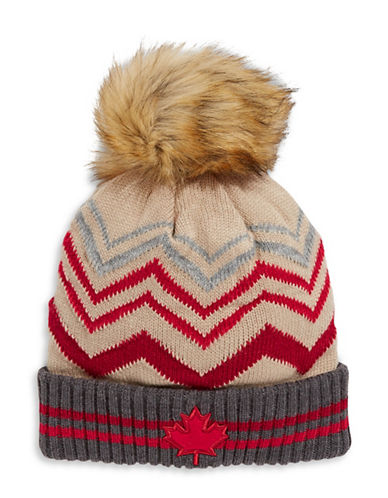 Canadian Olympic Team Collection Adult Faux Fur Pom Tuque-BEIGE-One Size