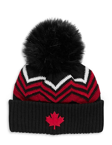 Canadian Olympic Team Collection Adult Mountain Top Tuque with Faux Fur Pom-BLACK-One Size