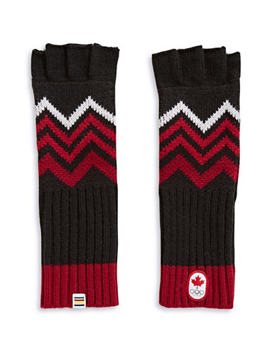 Canadian Olympic Team Collection Adult Mountain Top Fingerless Gloves-BLACK-One Size